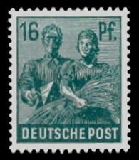 16 Pf Briefmarke: Freimarken II. Kontrollratsausgabe, Maurer und Bäuerin