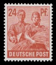 24 Pf Briefmarke: Freimarken II. Kontrollratsausgabe, Maurer und Bäuerin
