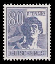 80 Pf Briefmarke: Freimarken II. Kontrollratsausgabe, Arbeiter