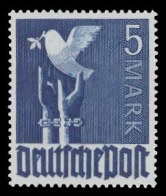 5 M Briefmarke: Freimarken II. Kontrollratsausgabe, Friedenstaube