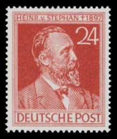 24 Pf Briefmarke: 50. Todestag Heinrich von Stephan