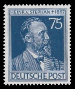 75 Pf Briefmarke: 50. Todestag Heinrich von Stephan