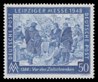 50 Pf Briefmarke: Leipziger Frühjahrsmesse 1948