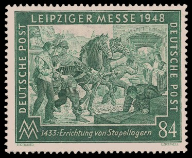 84 Pf Briefmarke: Leipziger Frühjahrsmesse 1948