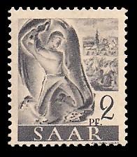 2 Pf Briefmarke: Saar I, Berufe und Ansichten aus dem Saarland