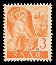 3 Pf Briefmarke: Saar I, Berufe und Ansichten aus dem Saarland