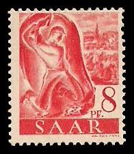 8 Pf Briefmarke: Saar I, Berufe und Ansichten aus dem Saarland