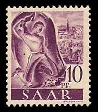 10 Pf Briefmarke: Saar I, Berufe und Ansichten aus dem Saarland