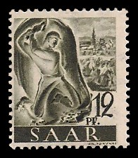 12 Pf Briefmarke: Saar I, Berufe und Ansichten aus dem Saarland