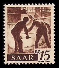 15 Pf Briefmarke: Saar I, Berufe und Ansichten aus dem Saarland