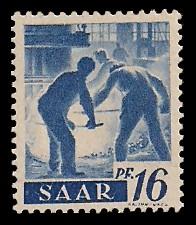 16 Pf Briefmarke: Saar I, Berufe und Ansichten aus dem Saarland
