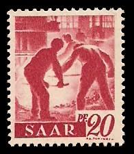 20 Pf Briefmarke: Saar I, Berufe und Ansichten aus dem Saarland