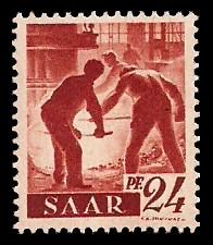 24 Pf Briefmarke: Saar I, Berufe und Ansichten aus dem Saarland
