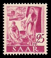 25 Pf Briefmarke: Saar I, Berufe und Ansichten aus dem Saarland