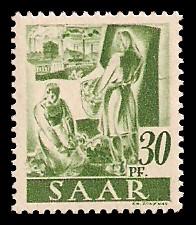 30 Pf Briefmarke: Saar I, Berufe und Ansichten aus dem Saarland