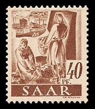40 Pf Briefmarke: Saar I, Berufe und Ansichten aus dem Saarland