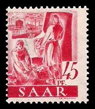 45 Pf Briefmarke: Saar I, Berufe und Ansichten aus dem Saarland