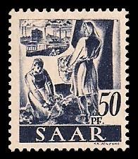 50 Pf Briefmarke: Saar I, Berufe und Ansichten aus dem Saarland