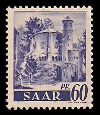60 Pf Briefmarke: Saar I, Berufe und Ansichten aus dem Saarland