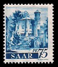 75 Pf Briefmarke: Saar I, Berufe und Ansichten aus dem Saarland