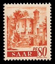 80 Pf Briefmarke: Saar I, Berufe und Ansichten aus dem Saarland