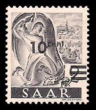 10 C auf 2 Pf Briefmarke: Saar II, Berufe und Ansichten aus dem Saarland