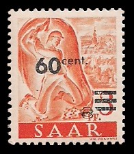 60 C auf 3 Pf Briefmarke: Saar II, Berufe und Ansichten aus dem Saarland