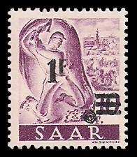 1 Fr auf 10 Pf Briefmarke: Saar II, Berufe und Ansichten aus dem Saarland