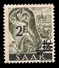 2 Fr auf 12 Pf Briefmarke: Saar II, Berufe und Ansichten aus dem Saarland