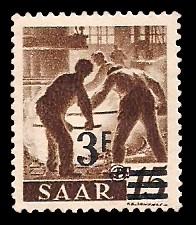 3 Fr auf 15 Pf Briefmarke: Saar II, Berufe und Ansichten aus dem Saarland