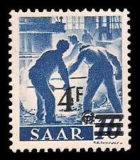 4 Fr auf 16 Pf Briefmarke: Saar II, Berufe und Ansichten aus dem Saarland
