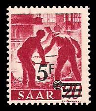 5 Fr auf 20 Pf Briefmarke: Saar II, Berufe und Ansichten aus dem Saarland