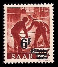 6 Fr auf 24 Pf Briefmarke: Saar II, Berufe und Ansichten aus dem Saarland