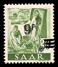 9 Fr auf 30 Pf Briefmarke: Saar II, Berufe und Ansichten aus dem Saarland