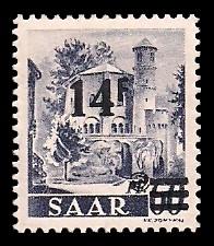 14 Fr auf 60 Pf Briefmarke: Saar II, Berufe und Ansichten aus dem Saarland