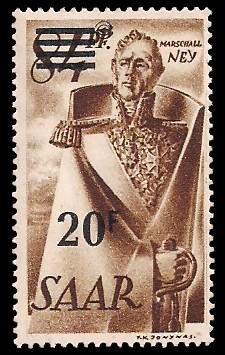 20 Fr auf 84 Pf Briefmarke: Saar II, Berufe und Ansichten aus dem Saarland