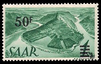 50 Fr auf 1 M Briefmarke: Saar II, Berufe und Ansichten aus dem Saarland