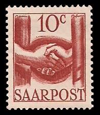 10 C Briefmarke: Saar III, Wiederaufbau des Saarlandes