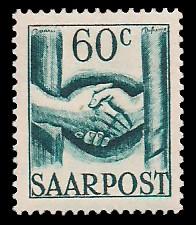 60 C Briefmarke: Saar III, Wiederaufbau des Saarlandes