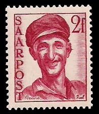 2 Fr Briefmarke: Saar III, Wiederaufbau des Saarlandes