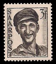 3 Fr Briefmarke: Saar III, Wiederaufbau des Saarlandes