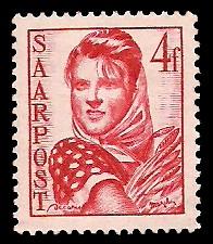 4 Fr Briefmarke: Saar III, Wiederaufbau des Saarlandes