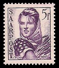 5 Fr Briefmarke: Saar III, Wiederaufbau des Saarlandes