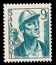 9 Fr Briefmarke: Saar III, Wiederaufbau des Saarlandes