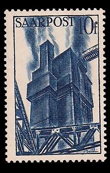 10 Fr Briefmarke: Saar III, Wiederaufbau des Saarlandes