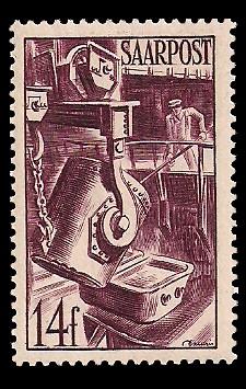 14 Fr Briefmarke: Saar III, Wiederaufbau des Saarlandes