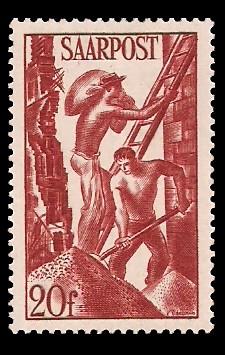 20 Fr Briefmarke: Saar III, Wiederaufbau des Saarlandes