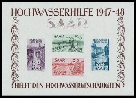 80 Fr Briefmarke: Blockausgabe: Hochwasserhilfe 1947-48
