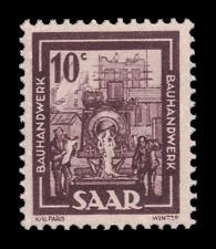 10 C Briefmarke: Saar IV, Industrie, Handel, Landwirtschaft und Kultur