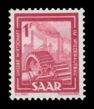 1 Fr Briefmarke: Saar IV, Industrie, Handel, Landwirtschaft und Kultur